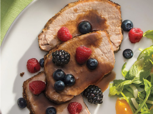 Balsamic-Honey Roast Pork Loin with Fresh Berries