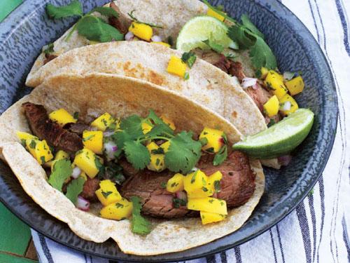 Carne Asada Tacos with Mango Salsa