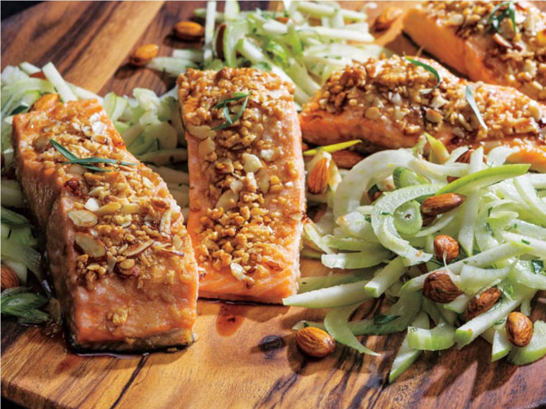 Crispy Honey Nut Baked Salmon with Almond-Fennel Salad