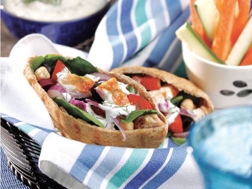 Greek Chicken Pitas with Dill-Feta Sauce