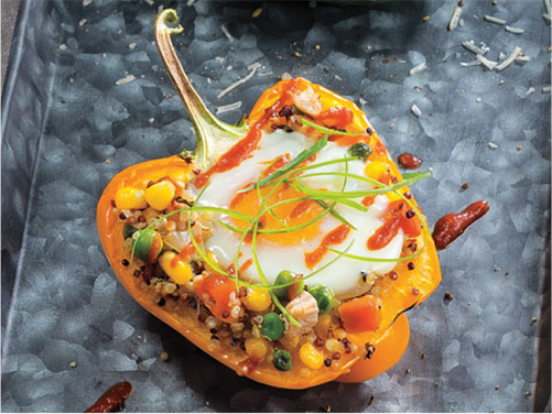 Quinoa Fried Rice with Roasted Chicken Stuffed Peppers