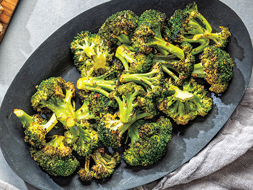 Crispy Roasted Broccoli<br /> with Miso & Ginger