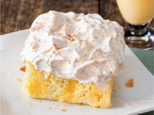 Eggnog Poke Cake with Cinnamon Whipped Cream
