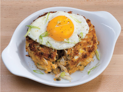 Fried Egg-Topped Crab Cakes