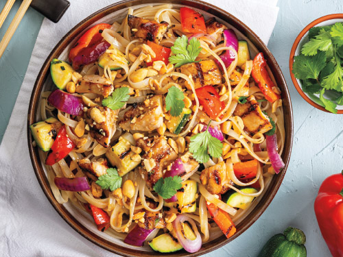 Grilled Chicken & Vegetable Pad Thai Noodle Salad