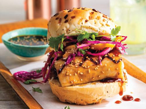 Grilled Mahi-Mahi Sandwich with Mango-Coconut Slaw