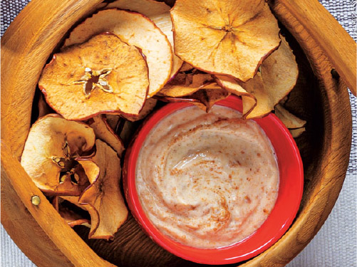 Healthy Baked Apple Chips with Maple-Almond Yogurt Dip