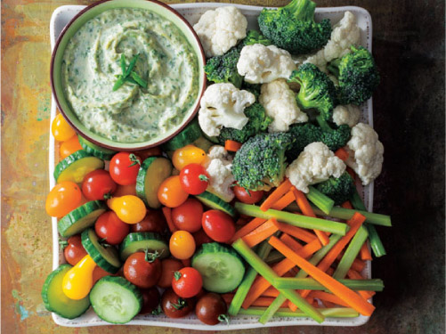 Herbed Tahini Dip with Raw Veggies