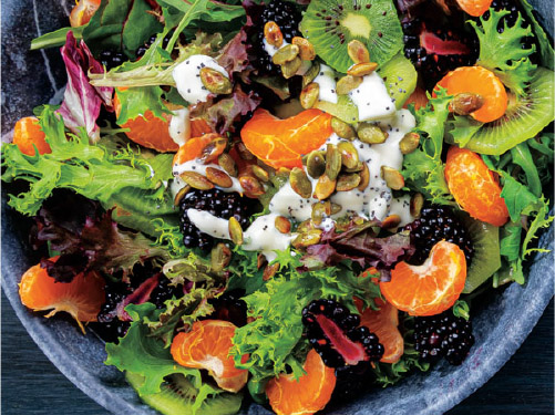 Kiwi, Clementine & Blackberry Salad with Creamy Poppy Seed Dressing