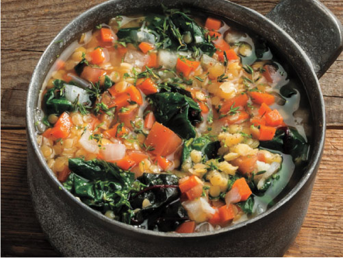 Mediterranean Red Lentil & Swiss Chard Soup
