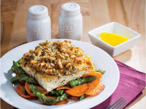 One-Pan Maple-Walnut Crusted Halibut & Vegetables