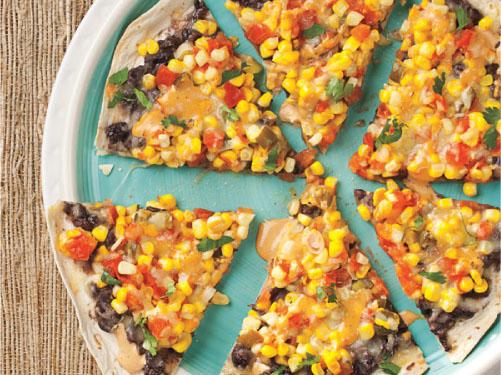 Pizzas de tortilla del sudoeste a la parrilla