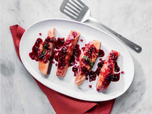 Pomegranate & Red Wine Roasted Salmon