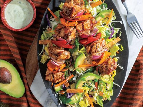 Pork Tenderloin & Veggie Kabobs with Southwest Chopped Salad