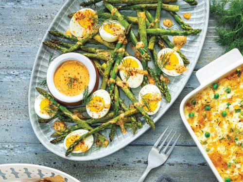 Roasted Asparagus & Hard-Cooked Egg Platter