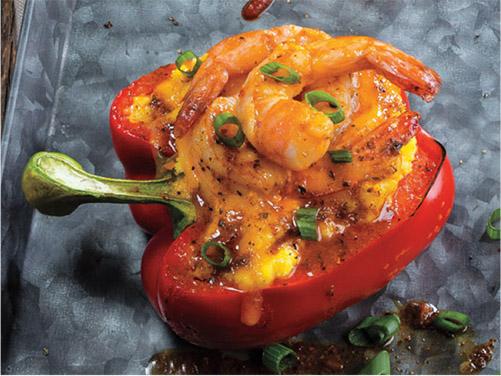 Shrimp & Grits Stuffed Peppers