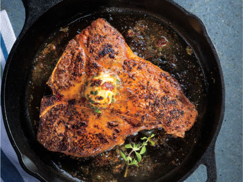 Skillet-Fried Porterhouse Steak with Orange-Chipotle Butter