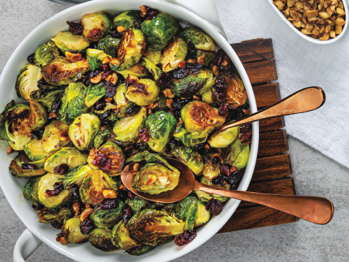 Skinny Sprouts with Dried Cranberries & Hazelnuts