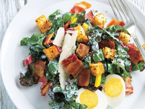 Swiss Chard Caesar Salad