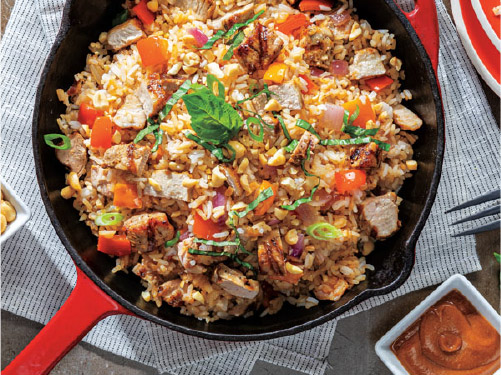 Thai Peanut Pork & Veggie Fried Rice